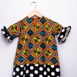 Little girls Ankara polka dot party dress