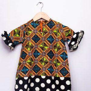 Little girls Ankara polka dot party dress